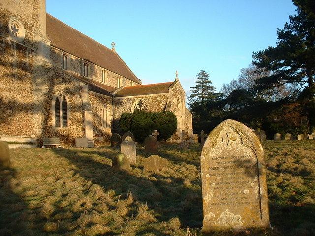 The graveyard of St Peter, Wolferton, Norfolk.