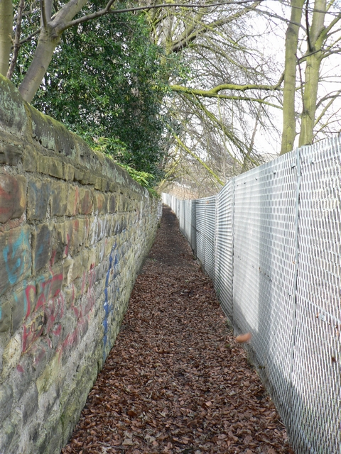 Footpath by railway cutting, Headingley