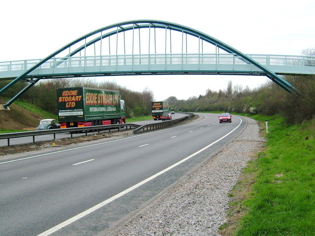A14 pedestrian bridge near Cranford St John