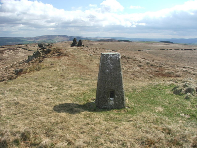 Trig point and cairns on Skipton Moor.