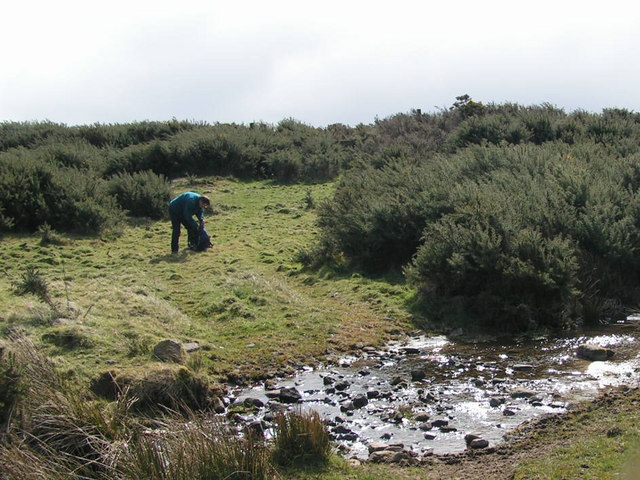 Crossing the burn above Rosebrough