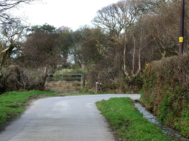 Sharp bend on country lane