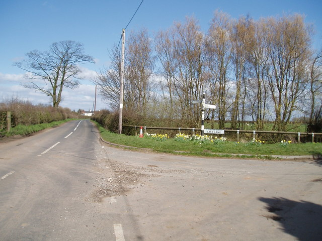 Junction of Lake Lane & Bentley's Farm Lane, Higher Whitley