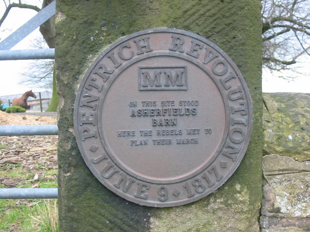 Pentrich Revolution Plaque at Asherfields Barn