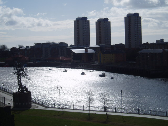 Looking over the River Wear from Monkwearmouth to Sunderland, 17th April 2006