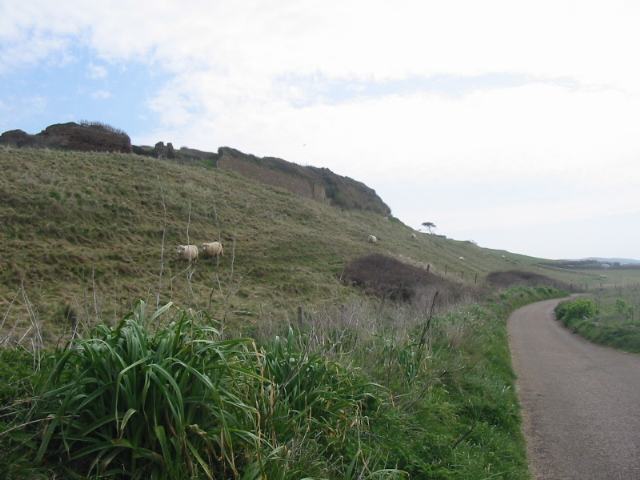 Lane and hill behind beach, Abbotsbury