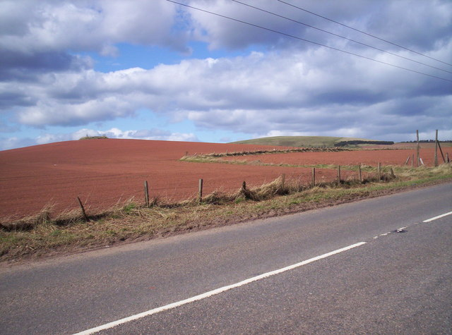 Old A90 with Fields and Knock Hill Behind