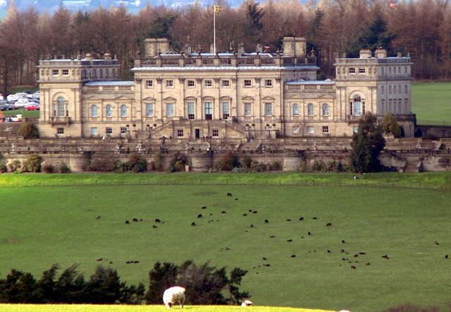 Distant view of Harewood House