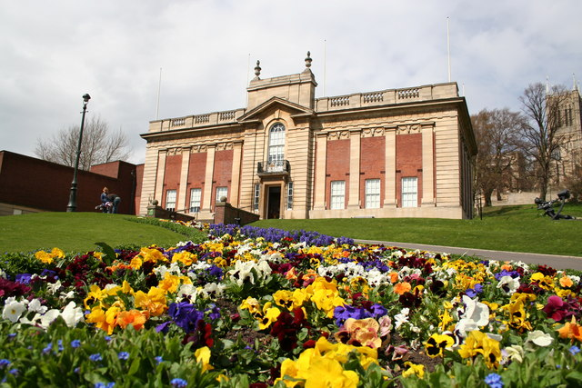 Usher Gallery and Spring Flowers