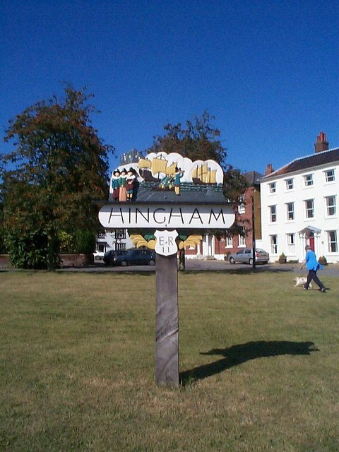 Hingham town sign.