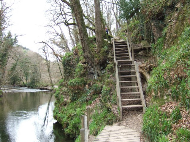 River Plym and steps on riverside footpath