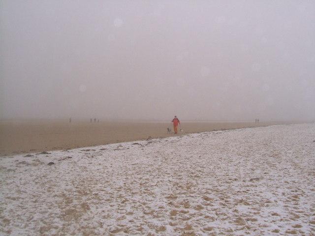 Snow on Brancaster beach
