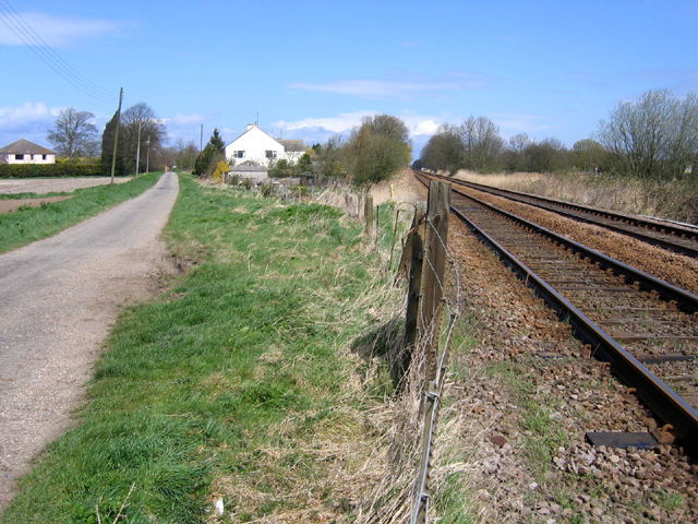 Railway and road meet at Little London, Spalding, Lincs