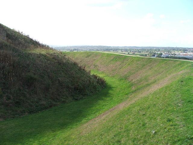 Defensive ditch at Sandal Castle.