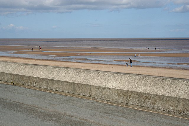 Looking over the Sea Defence Wall onto the Beach