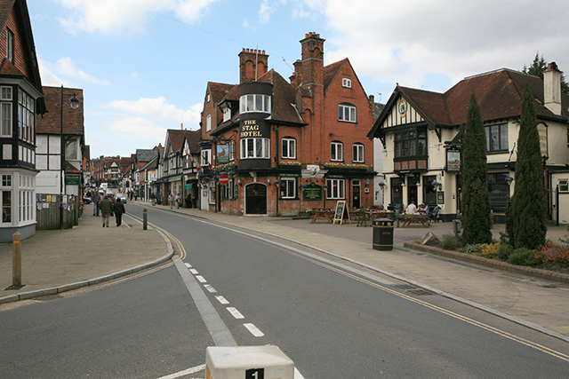 Lyndhurst High Street, looking west from A337 junction