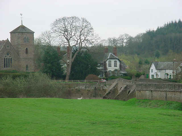 Mordiford church, bridge and post office.