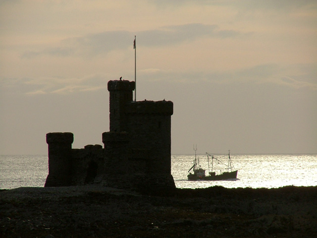 Tower of Refuge in silhouette