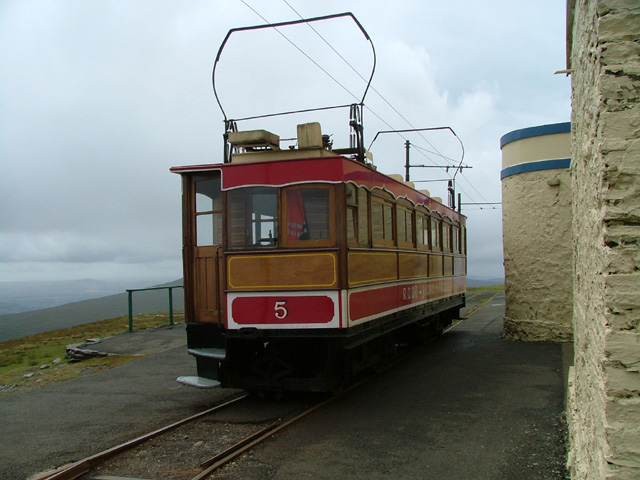 Tram at Snaefell Summit Station