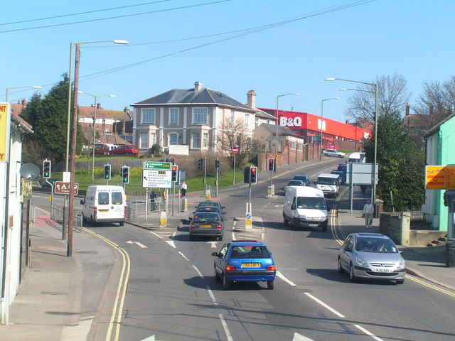 Junction of the B2093 & A259, with B&Q in the background