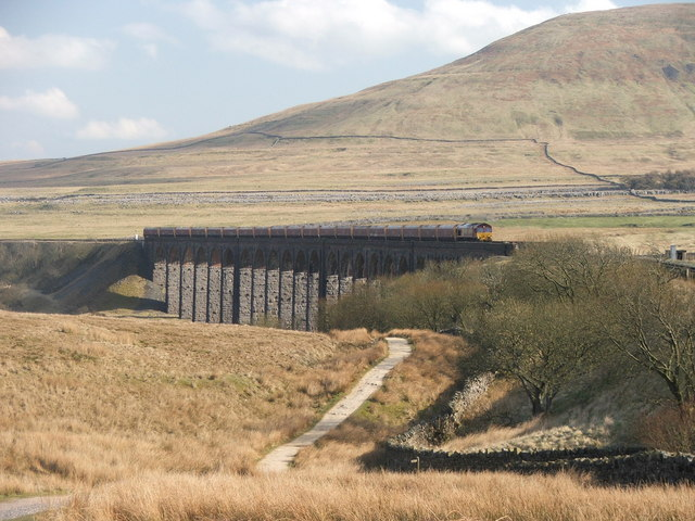 Goods train crossing Ribblehead Viaduct.