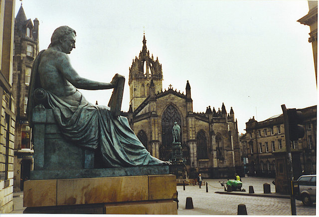 David Hume Statue and St Giles Cathedral.