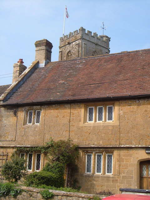 Church tower and almshouse, Donyatt