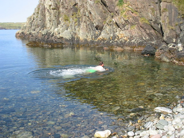 Swimming at the end of Clashnessie Bay