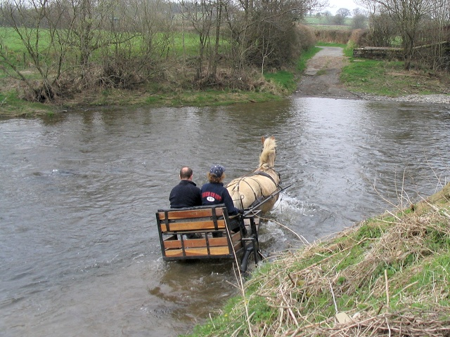 Cart crossing ford on River Irfon south of Beulah