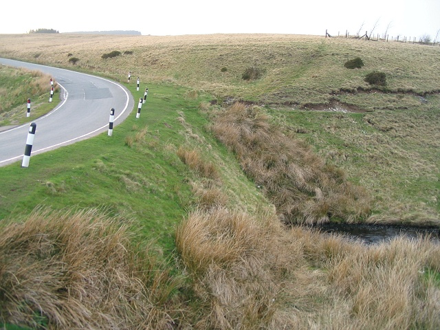 Road crosses stream on Epynt mountain
