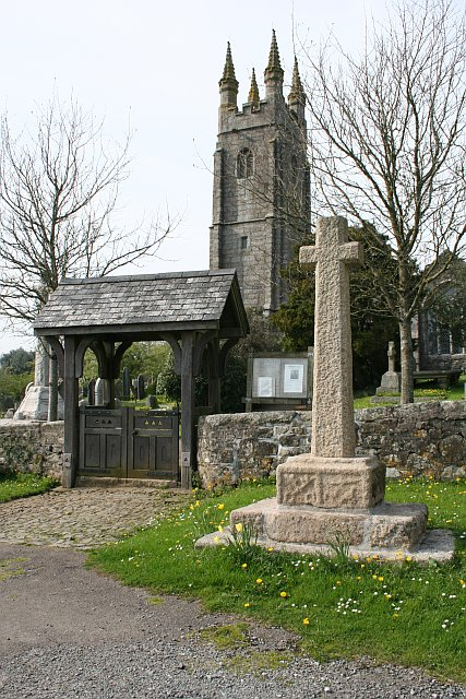 Village Cross, Lych Gate and Church Spire