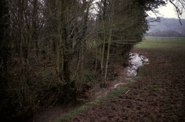 Concrete-lined stream, Lower Llanmellin