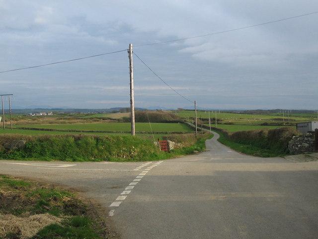 Road junction at Pengroeslon