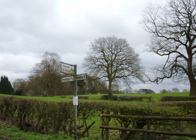 Signpost near Prestbury