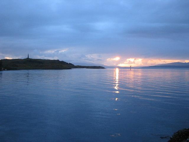 Sunset across Oban bay