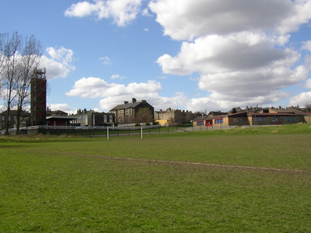 Football ground, fire station and school off Waterloo Road, Brighouse