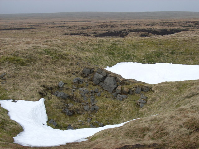 Snow-filled shake holes on Knock Fell