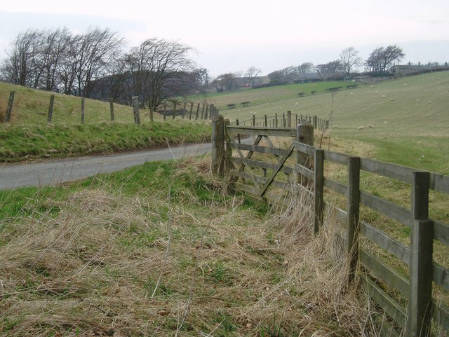 Gate beside minor road near Yorkston