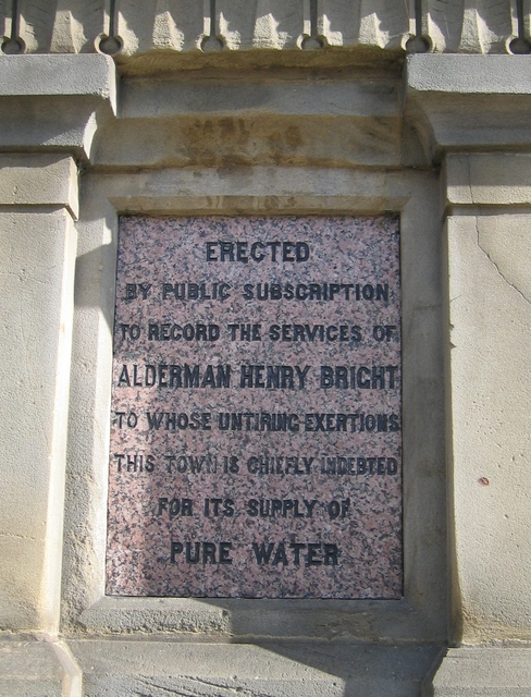 Plaque on the Henry Bright Monument
