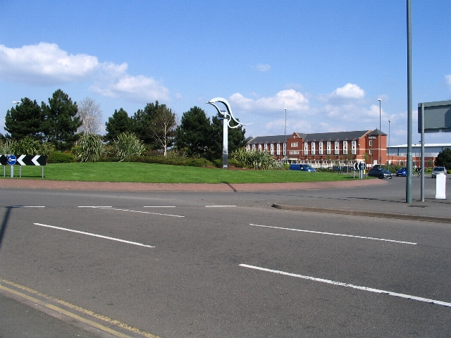 Traffic island artwork and Village Hotel, Coventry