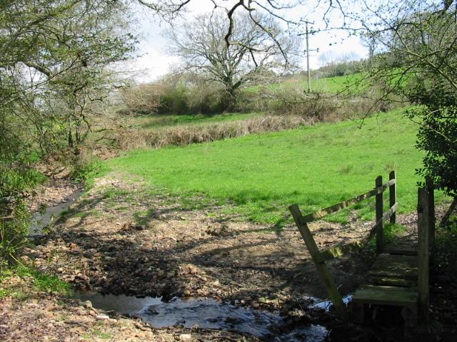 Farmland and stream near Monkton Wylde