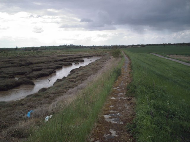 Saltings and sea wall west of Upper Raypits