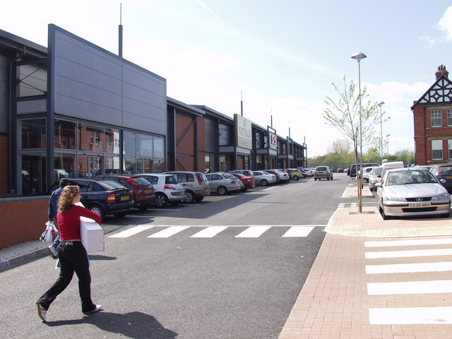 Shops on old brewery site, Wrecsam