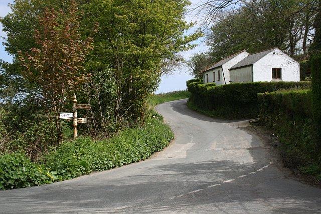 Cottages at a Road Junction by Little Tregadles