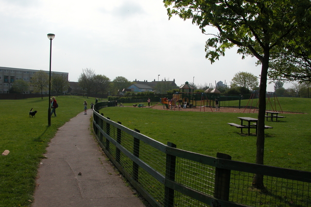 Fields and playground at Stamshaw, Portsmouth.