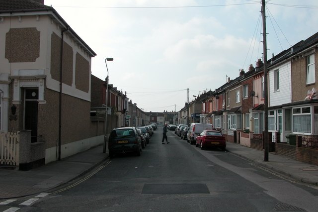 Looking South down Widley Road, Stamshaw, Portsmouth.