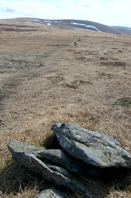 Stone way markers, on track following southern side of The Mounth.