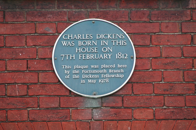 Plaque marking the birthplace of Charles Dickens.