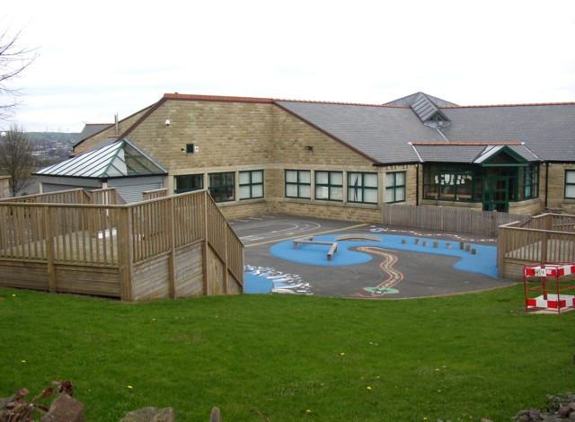 Part of the playground around Within Fields School, Southowram