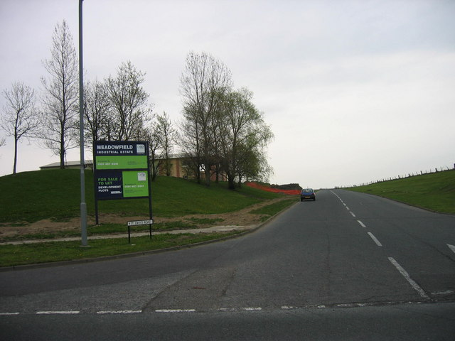 Road leading to Meadowfield Industrial Estate